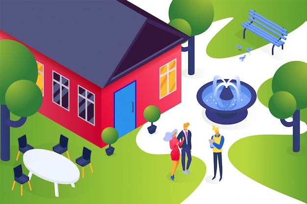Isometrische immobilien haus, cartoon junge paar menschen mieten wohnung eigentum, immobilienagentur geschäftskonzept