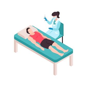 Isometrische impffarbzusammensetzung mit weiblicher ärztin, die spritze und männlichem patienten auf dem tisch hält
