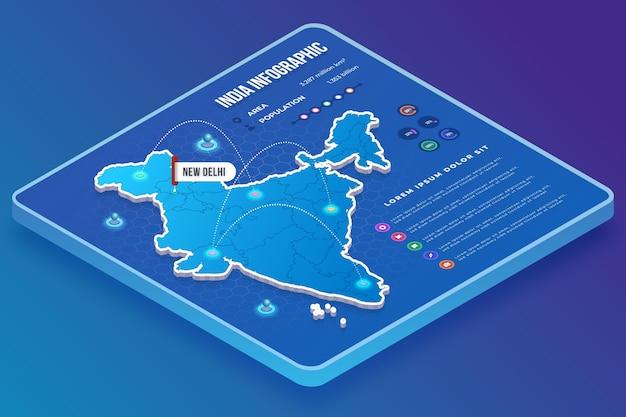 Isometrische indien karte infografiken vorlage