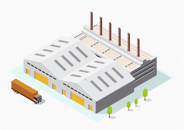 Isometrische industrie- oder fabrikgebäude