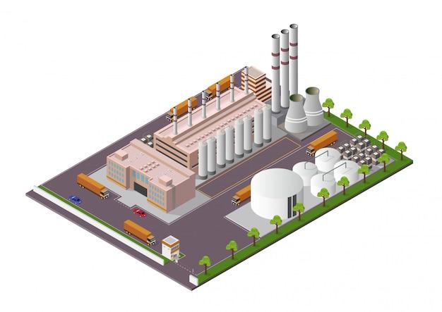 Isometrische industriegebäudezusammensetzung mit ansicht der anlagen