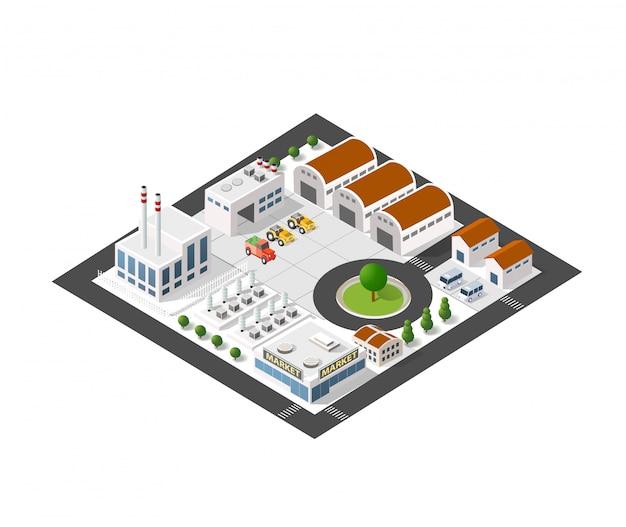 Isometrische industrielandschaft