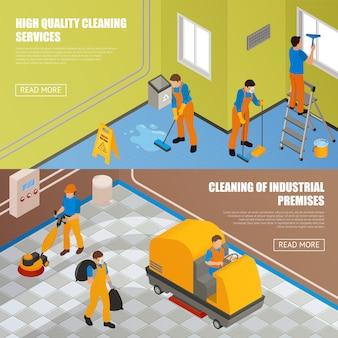 Isometrische industrielle reinigung banner set