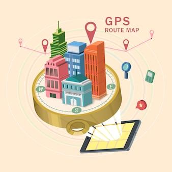 Isometrische infografik gps-routenkarte 3d mit tablette, die schöne stadtszene zeigt