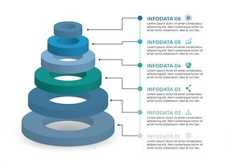 Isometrische Infografik mit 6 Optionen und Stufen.