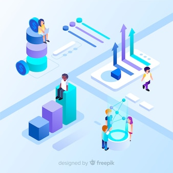 Isometrische Infografik mit Diagrammen und Menschen