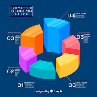 Isometrische infografik schritte vorlage