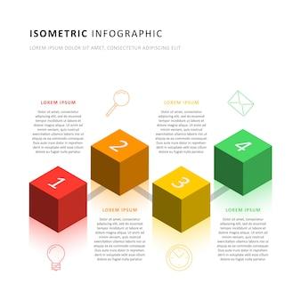 Isometrische infografik timeline-vorlage mit realistischen 3d-cubic-elementen. modernes geschäftsprozessdiagramm für broschüre, banner, geschäftsbericht und präsentation.