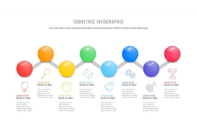 Isometrische infografik timeline-vorlage mit realistischen runden 3d-elementen. modernes geschäftsprozessdiagramm