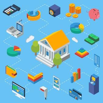 Isometrische infografiken für geldautomaten