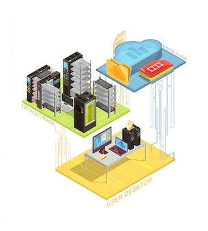 Isometrische infografiken mit benutzerarbeitsplatz, digitaler wolke und servern für datenspeicherung auf weißer hintergrundvektorillustration