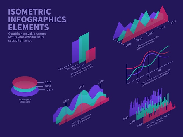 Isometrische infographik elemente. 3d-diagramme, balkendiagramm, markthistogramm und ebenendiagramm.