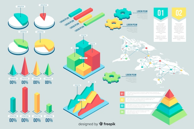 Isometrische infographik vorlage