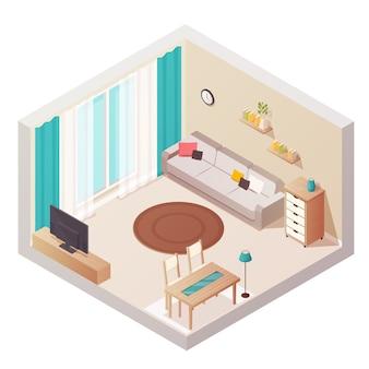 Isometrische innenarchitekturzusammensetzung des wohnzimmers