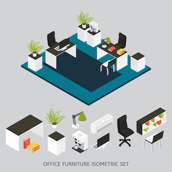 Isometrische innenausstattung mit büroarbeitsplatz und möbliertem büro