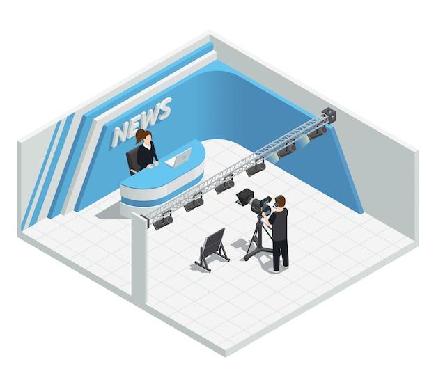 Isometrische innenausstattung mit video-tv-live-nachrichtensendestudio-beleuchtungssatz-kamera-host-cam