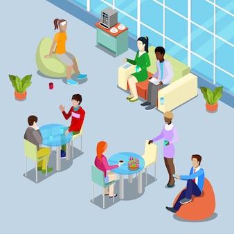 Isometrische innenbürokantine und entspannungsbereich mit menschen.