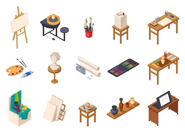 Isometrische innenelementsammlung des kunststudios mit lokalisierten malereiausrüstung schreibt tabellenregale mit trainingsproben vector illustration