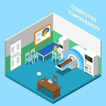 Isometrische innenraumzusammensetzung des krankenhauses mit blick auf raum, der mit medizinischen geräten der computertomographie mit text ausgestattet ist