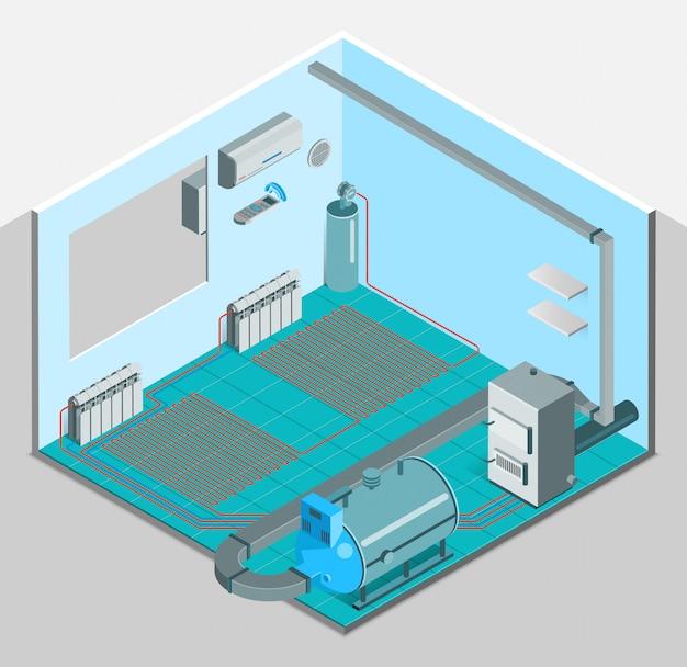 Isometrische innenschablone für heizungskühlsystem