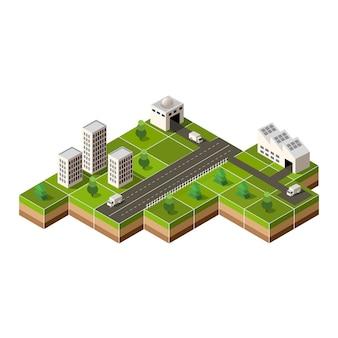 Isometrische innenstadt auf der karte mit vielen gebäuden