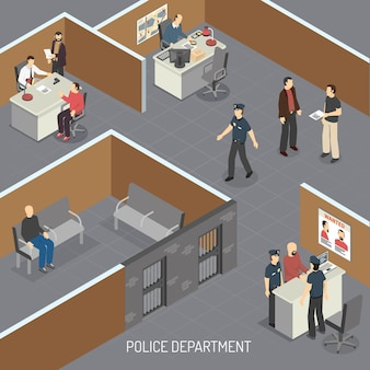 Isometrische innenzusammensetzung der polizeidienststelle mit tatverdächtigen im büro für vorläufige untersuchungshaft und detektive