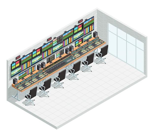 Isometrische innenzusammensetzung des video-tv-sendestudios mit steuerung der fernsehproduktionsanlage