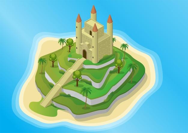 Isometrische insel mit mittelalterlicher burg auf terrassiertem land.
