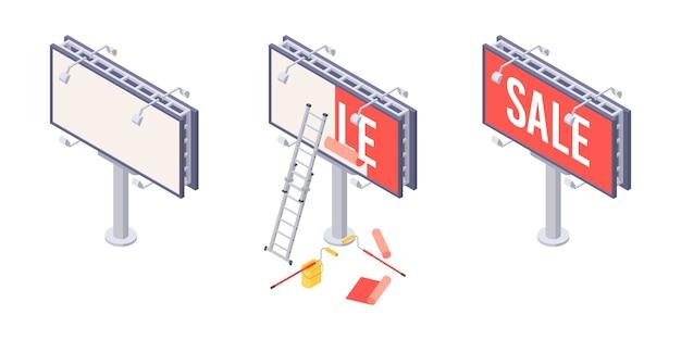 Isometrische installation von werbetafeln mit verschiedenen phasen des aufklebens von werbung auf großstädten. isometrische werbetafel mit leiter, eimer und rolle für die installation von außenwerbung.