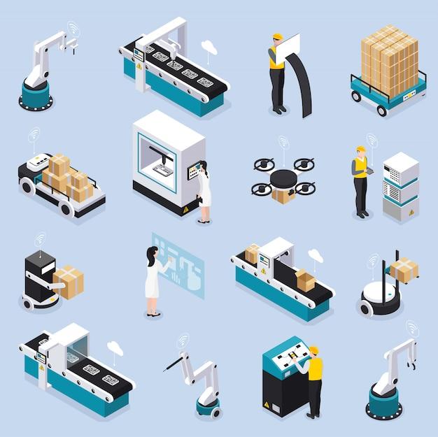 Isometrische intelligente industrieikone gesetzt mit roboterwerkzeugen und ausrüstungsdienstarbeitern und wissenschaftlernvektorillustration