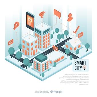 Isometrische intelligente stadtillustration