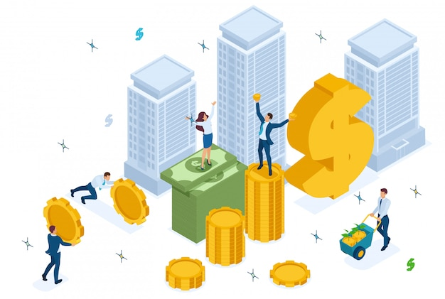 Isometrische investmentfonds investieren in den bau, investoren haben geld.
