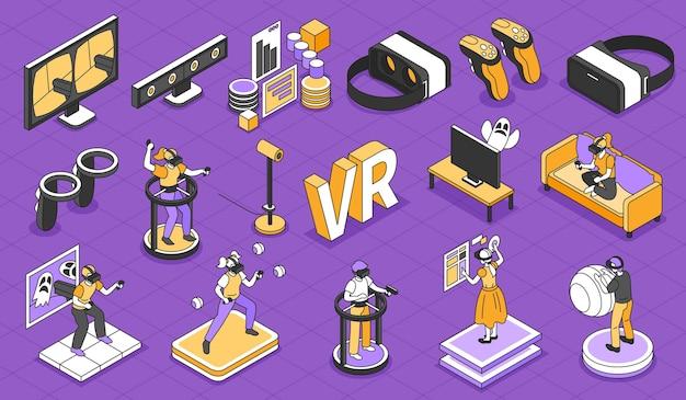 Isometrische isolierte darstellung der virtuellen realität