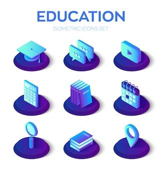 Isometrische isonen der bildung 3d eingestellt. e-learning, webinar, unterricht, infografik zu online-schulungen.