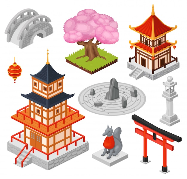 Isometrische japan-illustration, karikatur 3d japanisches reisestadt-wahrzeichen, orientalischer pagodenhaus-tempel, brückenikonen lokalisiert auf weiß