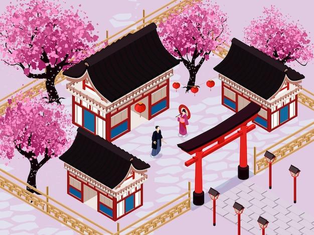 Isometrische japan-illustration mit traditionellem japanischem garten und sakura-bäumen