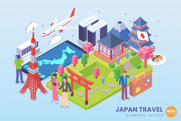 Isometrische japan-reiseillustration