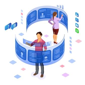 Isometrische jobagentur beschäftigung, personal, lebenslauf und einstellungskonzept. auf flexiblem transparentem bildschirm fortsetzen. bewerber nach lebenslauf. isoliert