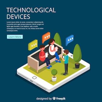 Isometrische junge menschen mit technologischen geräten