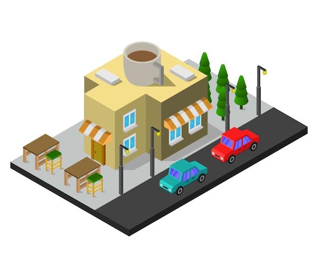 Isometrische kaffeebar