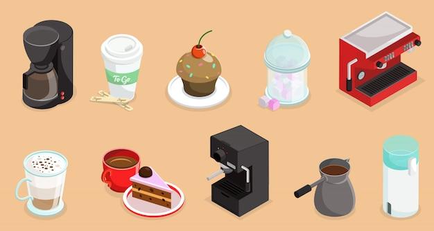 Isometrische kaffeeelemente, die mit kuchen-cupcake-kaffeemaschinen-türke und tassen heißer getränke lokalisiert werden