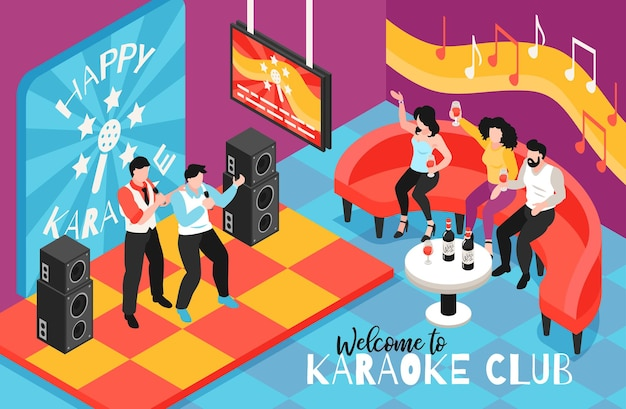 Isometrische karaoke-club-illustration