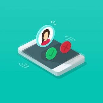 Isometrische karikatur des handyanrufs oder der klingelnden illustration des mobiltelefons
