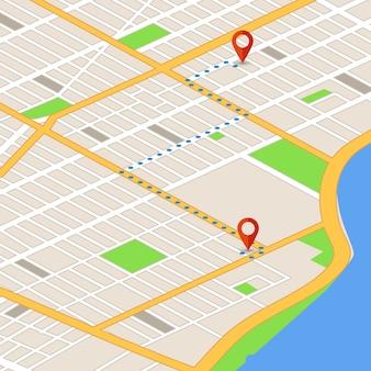 Isometrische karte 3d mit standortstiften. gps-navigationsvektorhintergrund