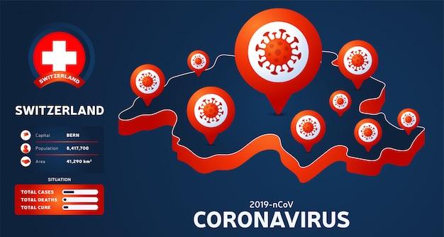 Isometrische karte der schweiz mit hervorgehobener länderillustration auf dunklem hintergrund. coronavirus-statistiken. gefährliches chinesisches ncov-corona-virus. infografik und länderinfo.
