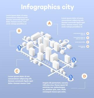 Isometrische karte der stadt, bestehend aus wolkenkratzern der stadt