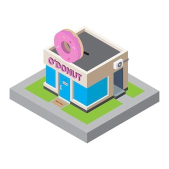 Isometrische karte des donuts-shop-gebäude-3d für kartenelement