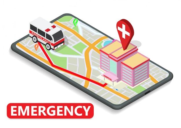 Isometrische karte mit krankenwagen und krankenhaus am telefon