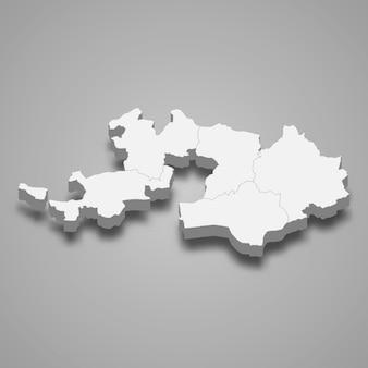 Isometrische karte von basel landschaft ist ein kanton der schweiz