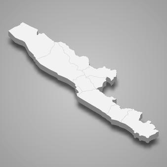 Isometrische karte von bengkulu ist eine provinz von indonesien